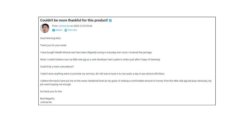 Wealth Miracle Customer Reviews
