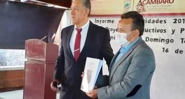 A la sociedad acambarense, el Síndico Domingo Torres presentó un Informe de actividades