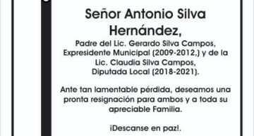 Esquela: Lamentable deceso del Señor Antonio Silva Hernández