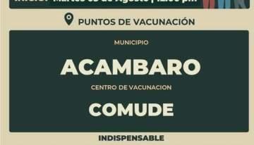 Vacunación en Acámbaro para personas de 30 a 39 años!!!