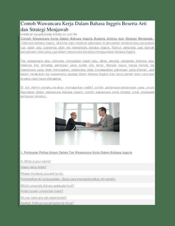 Contoh Interview Dalam Bahasa Inggris : contoh, interview, dalam, bahasa, inggris, Bahasa, Inggris, Untuk, Masuk, Kerja, Systemlasopa