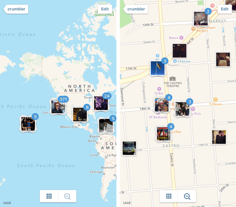 The photo map of Instagram stories. Credits: The Verge
