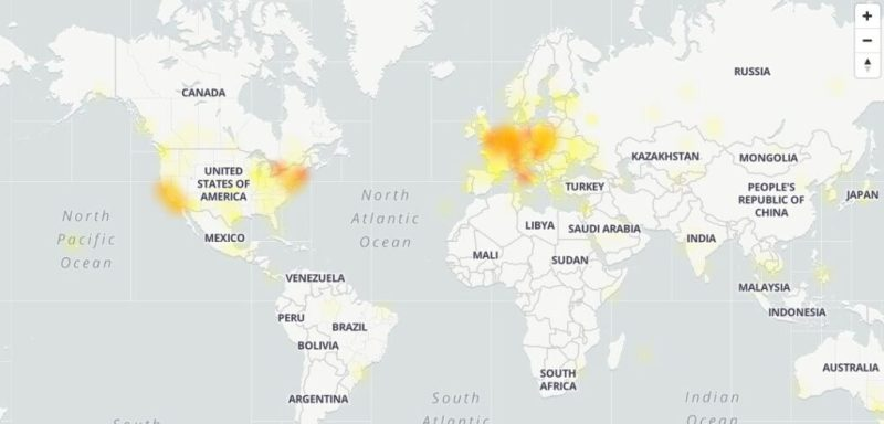 Geographic areas in which the YouTube down occurred