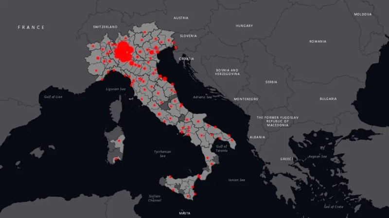 IT and technology innovation in Italy: the interactive map of the coronavirus in 2020. Credits: Brescia Today