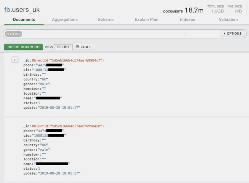 Facebook account records ended up online with phone numbers. Credits: Tech Crunch