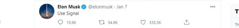 Elon Musk's tweet in favor of downloading Signal instead of WhatsApp.