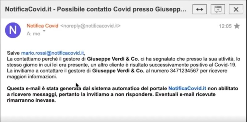 An example of a mail notification received from potentially endangered customers. Source: Andrea Ghezzi - NotificaCovid