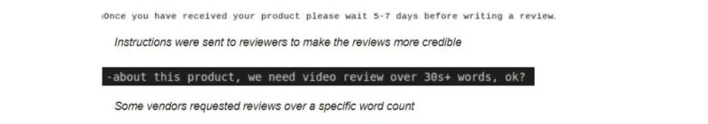 An example of a company requesting reviews, which also requests a specific length. Source: Safety Detectives