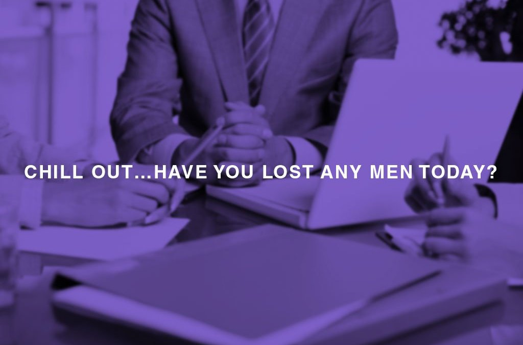 Chill out…Have you lost any men today?... - people at the office desk using laptop