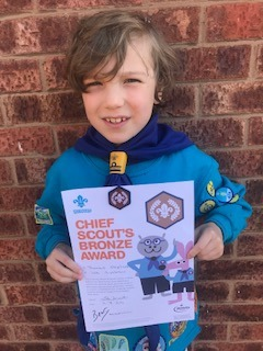 Thomas with his Cheif Scout Bronze Award.