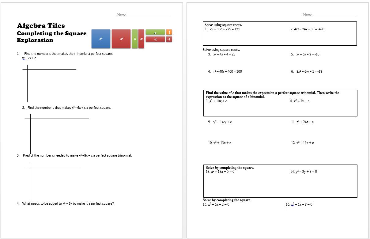 Solving Quadratic Equations Using Completing Square Method