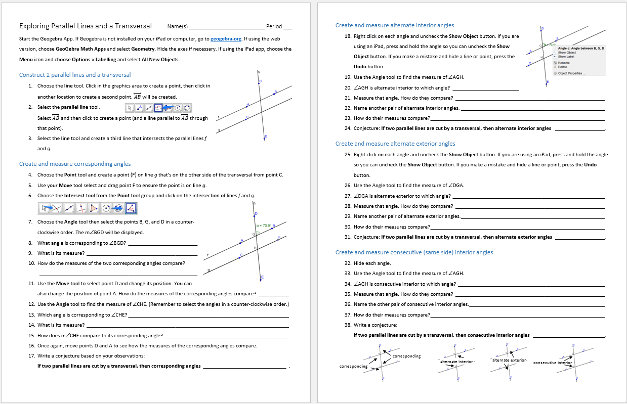 Alternate Interior And Exterior Angles Worksheet