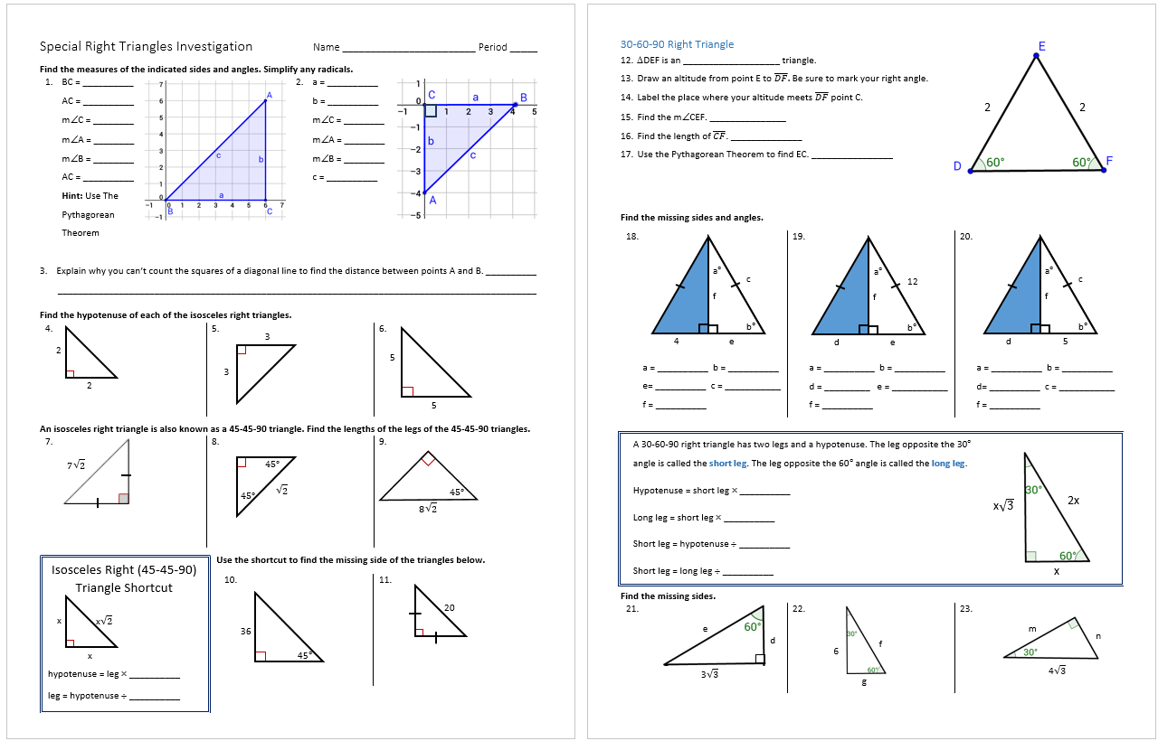 Special Right Triangles Investigation