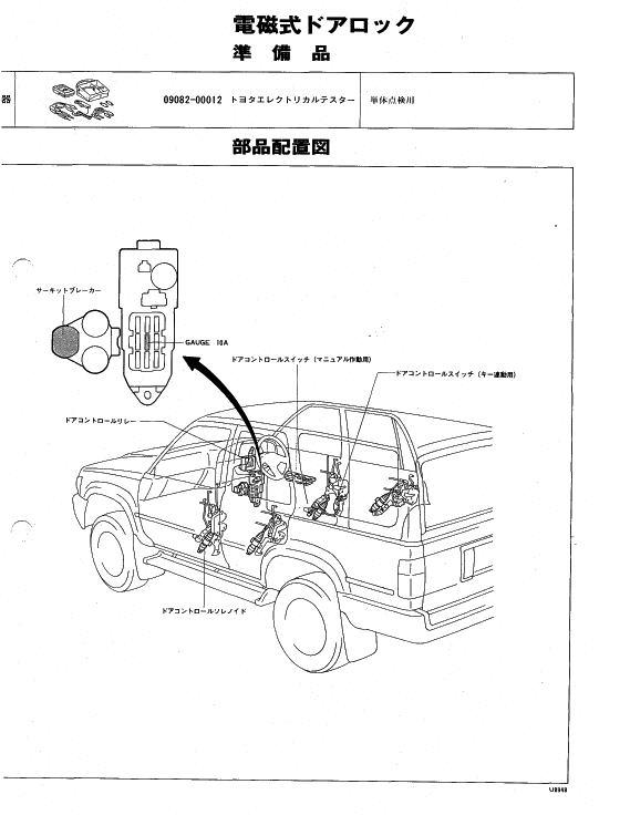 ハイラックスサーフ LN130G 2L ドアキー連動ドアロックが作動しない