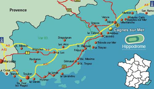 Cagnes tengerpartja térkép