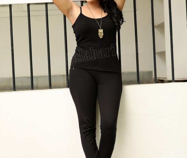 Sexy Swarna Jyothi Showing Her Armpit And Navel In Black Slip And Leggins