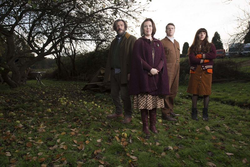 l-r:  Maurice (Julian Barratt) and Deborah (Olivia Colman), Donald (Daniel Rigby) and Amy (Sophia Di Martino)