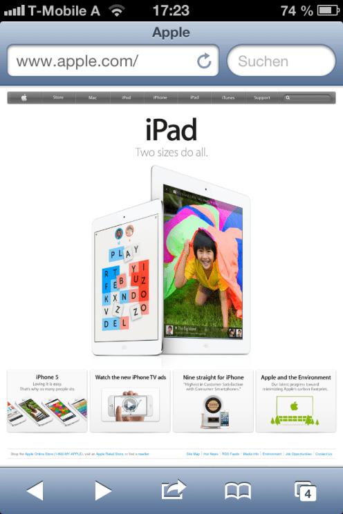 Apple's Webseite auf dem iPhone