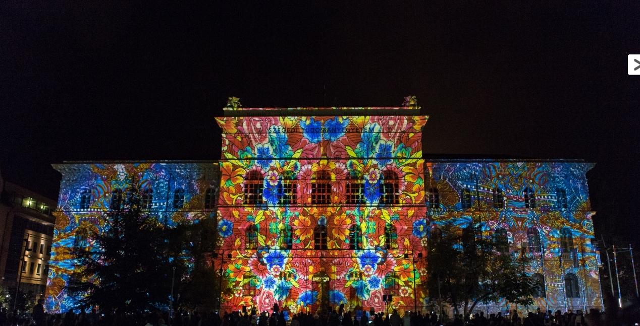 egyetem dugonics tér fényfestés kultúra őszi kulturális fesztivál