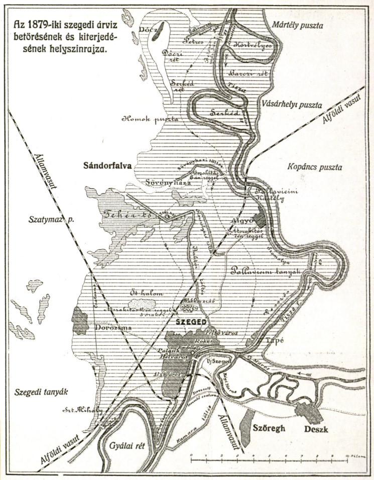1879 árvíz elöntött területek a város körül f somogyi könyvtár