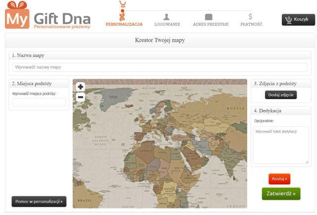 MyGiftDna.pl,  mapa świata