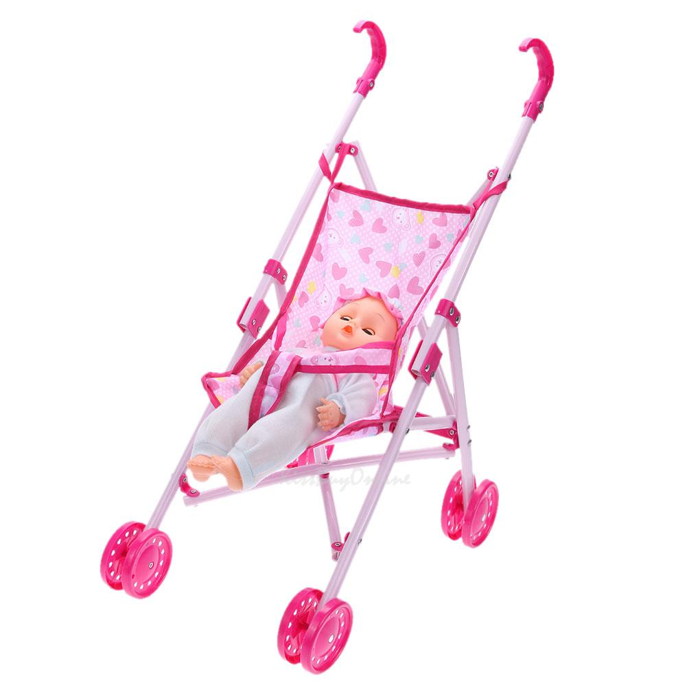 Girls Pink Baby Dolls Toy + Foldable Buggy Stroller