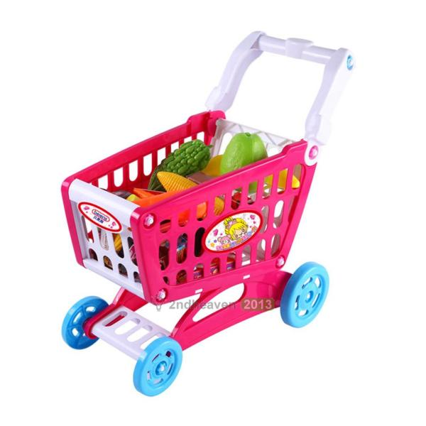 Shopping Cart With Full Grocery Food Toy Fun Prentend Play Playset Kids