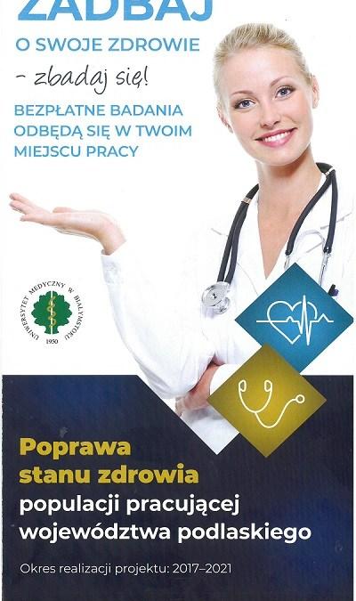 Bezpłatne badania dla pracujących w województwie podlaskim w wieku 25-50 lat