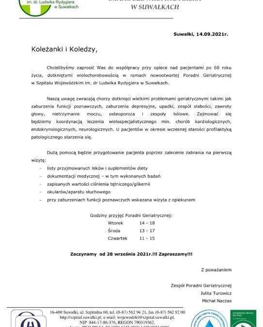 Zapraszamy do współpracy wszystkich lekarzy POZ. Poradnia Geriatryczna rusza 28 września!!! Zapraszamy!!!