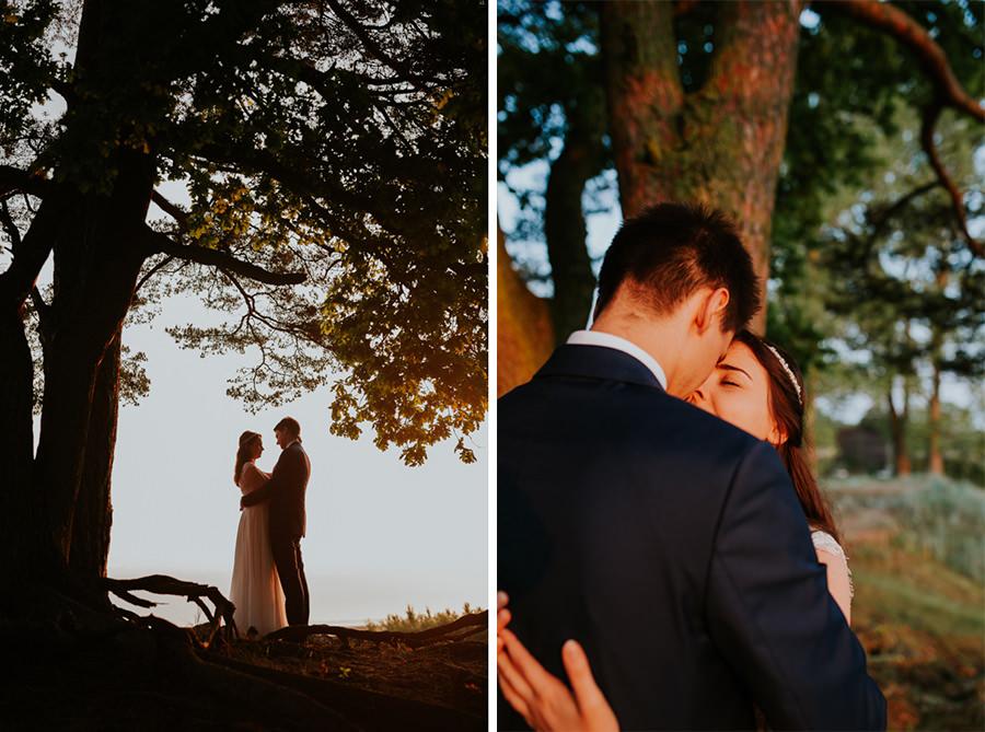zachód słońca plener ślubny