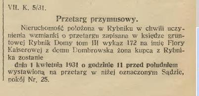 Kaiser Flora przetarg przymusowy 1931