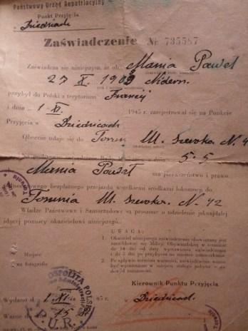 Dokument reptariacyjny dziadka 1945