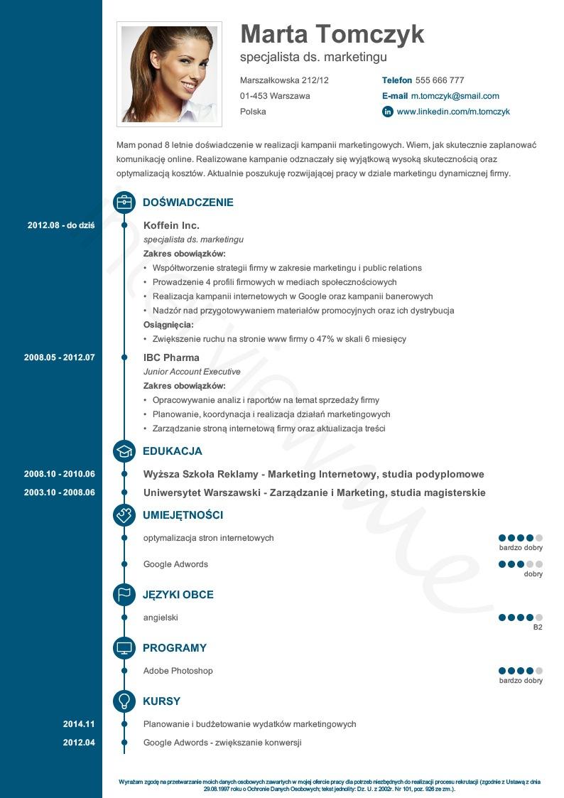Wzory CV  Ja i praca  doradztwo zawodowe