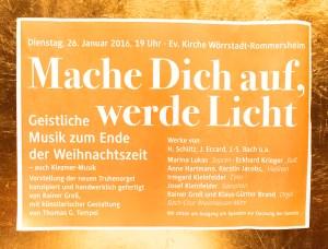 MacheDichAufWerde Licht - Plakat zum Konzert am 26.01.2016