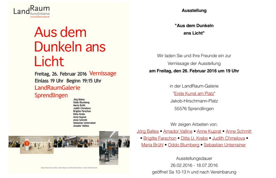 "Ausstellung""Aus dem Dunkeln  ans Licht""26.02.2016 – 18.07.2016"