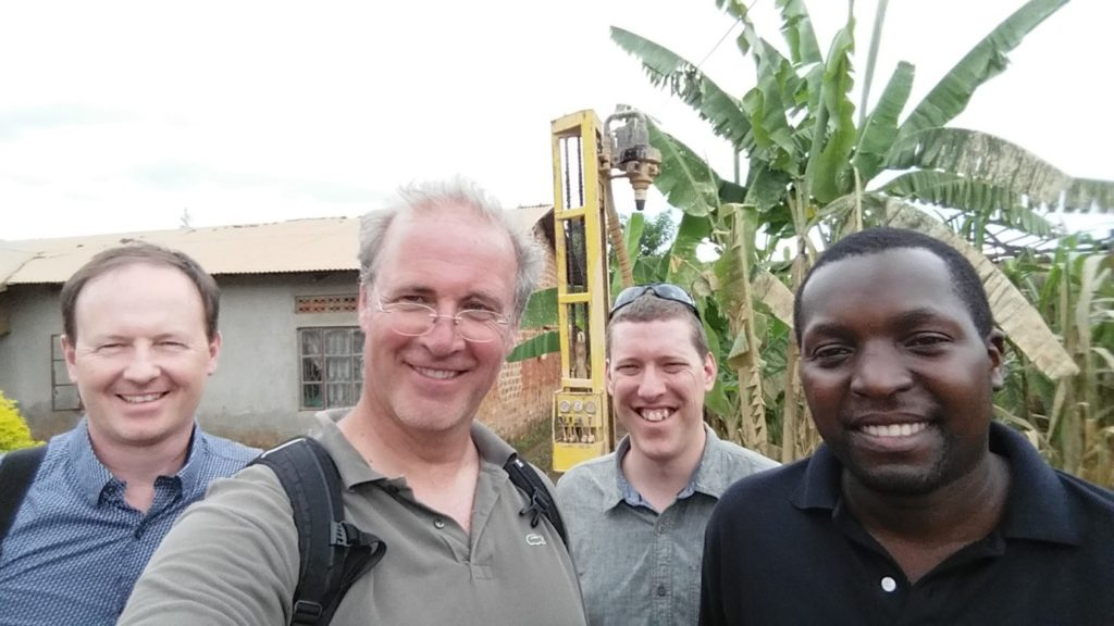 A selfi at one of the drilling locations with David MacDonald, Jan Willem Foppen, Dan Lapworth and Philip Nyenje (from left to right).