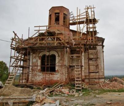 Работы по воссозданию храма. 2010 год