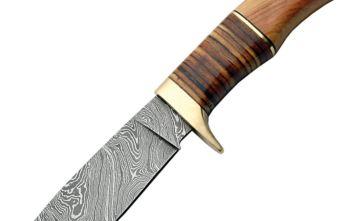 Damascus – Hunter Wood/Leather Handle