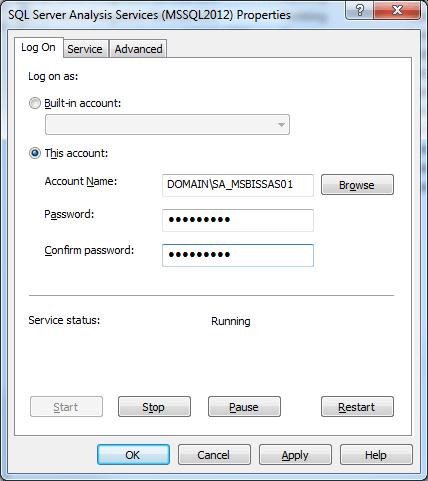 SSAS Configuration Log On Dialog Edit