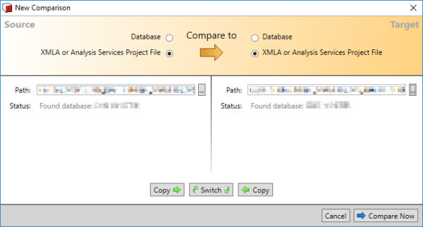 SSAS Compare File to File