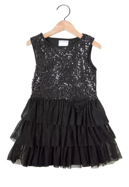 Vestido Marisol Paetê Infantil Preto - Marca Marisol