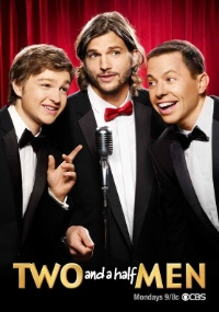 Cartaz do seriado americano Two and a half Men com Ashton Kutcher