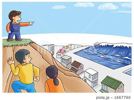 地震対応_屋外篇海岸沿いは高臺へのイラスト素材 [1667760] - PIXTA