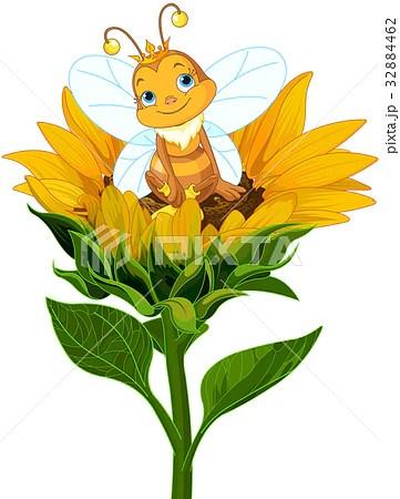Queen Bee on Sunflowerのイラスト素材 [32884462] - PIXTA