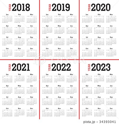 Year 2018 2019 2020 2021 2022 2023 calendar vectorのイラスト素材 [34393041] - PIXTA