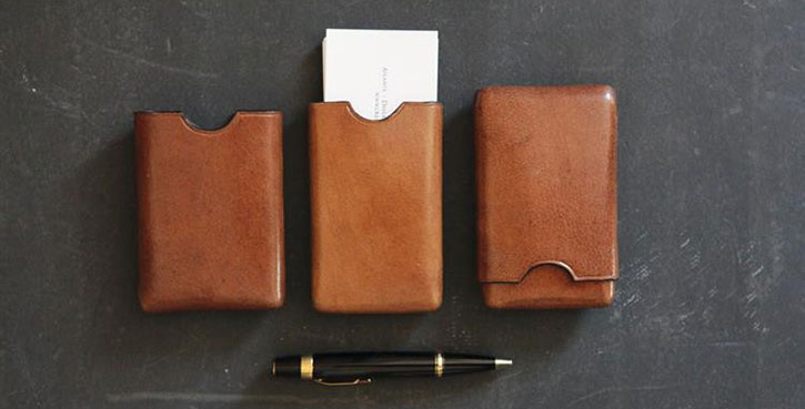 Tobacco Leather Business Card Holder at Nine Space