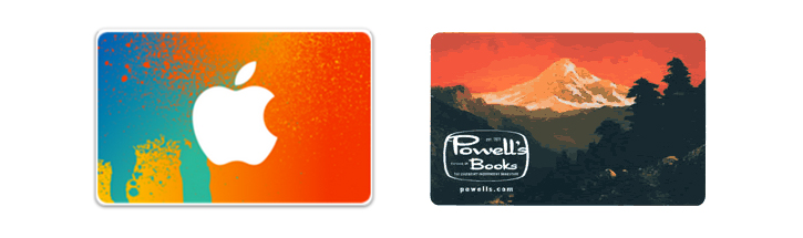Gift cards for iTunes (left) and Powell's Books