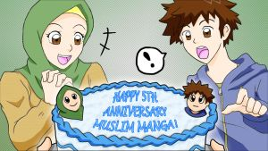 Muslim Manga 5th Anniversary Cake! by demonese89
