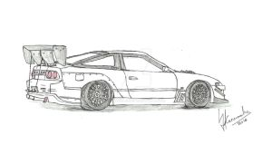 Toyota Trueno AE86 Pencil and Pen Sketch Drawing by