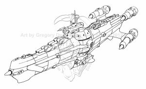 Victorian spaceship. steam-punk style. Micky Betts by